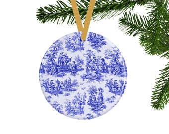Blue Toile Christmas Ornament, French Country Cottage Decor, Vintage Style Christmas Tree, Blue & White Christmas Decor, Hostess Gift