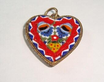 Vintage Mosaic Heart Brass Pendant Italy