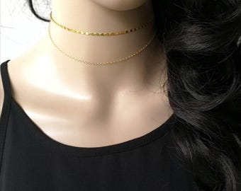 Chain Choker Necklace, Gold Choker, Gold Tattoo Choker, Bar Chain Choker, Gold Choker Chain, Gold Wrap Choker, Dainty Gold Choker, gift