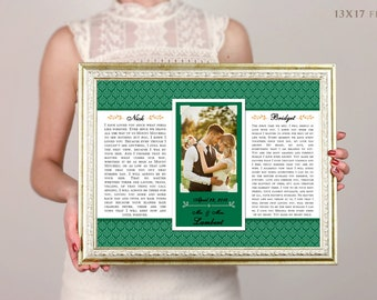 Wedding Vow Art, Framed Wedding Vows, Wedding Vow Keepsake, Anniversary Gift, Gift For Groom, Gift For Bride, 5th Anniversary Gift