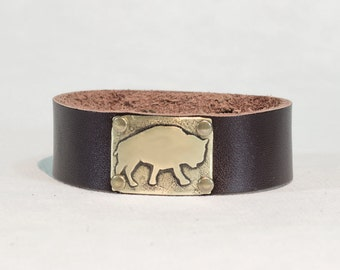 "Bison Leather Cuff Bracelet- one of a kind , etched bison on 3/4"" leather cuff. For guys and gals"
