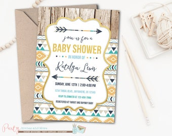 Tribal Baby Shower Invitation, Aztec Baby Shower Invitation, Boy Baby Shower Invitation, Rustic Baby Shower Invitation, Tee Pee, Arrows