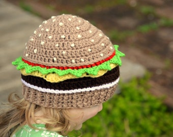 Cheeseburger Beanie, Crochet Food Hat, Knit Hamburger Hat, Kids Dress Up Hat, Crochet Cheeseburger, Toddler Boys Hat, Girls Hat, Adult Hat