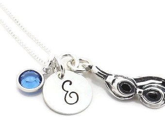 Swimmer Initial Charm Necklace, Swim Initial Necklace, Swimmer Gift with Swarovski Crystal Birthstone and Sterling Silver Swim Goggles Charm