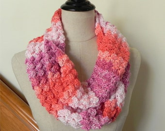 Crochet infinity scarf in shades of coral, peach and rose, multi-color cowl #468 is ready to ship
