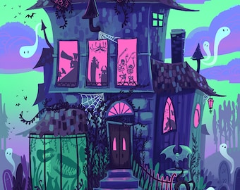 Haunted House Neon Monster Party Nights 12x18 art poster print