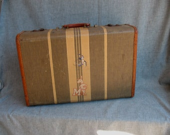 Vintage Suitcase Luggage Striped Stackable Musicians Home Decor Muhlenburg College Stickers