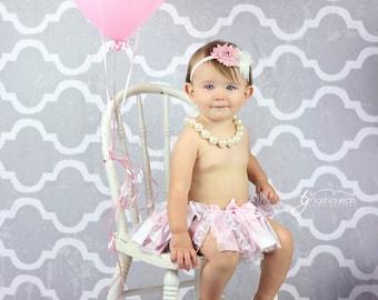 Pink Ivory Baby Headband Baby Bow Newborn Headband Baby Girl Bow Headband Shabby Chic Vintage Flower Headband Baby Girl Baby Headpiece Bow