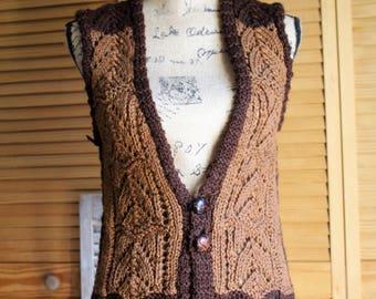 Vintage/handmade/crochet/brown/button/vest/sweater. Adorable sweater! Boho/hippie.
