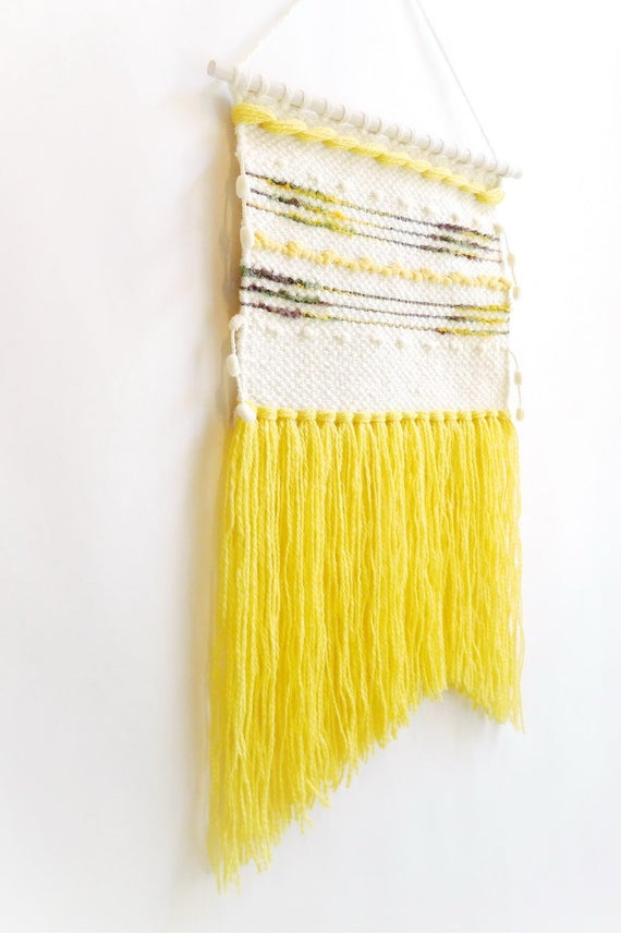 Yellow tapestry wall hanging woven wall weaving handwoven
