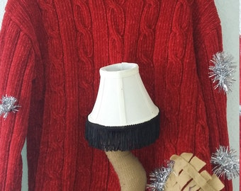 Good Ugly Sweater With A Christmas Story Leg Lamp Really Lights Up Red Sweater  #L6