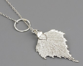 Silver Leaf  Necklace, Lariat Necklace, Silver Dipped Leaf Necklace, Woodland Jewelry, Leaf Jewelry, Leaf Pendant Necklace, Gardening Gift