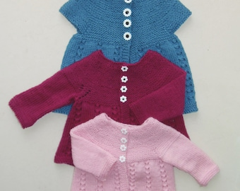PDF Boronia Pattern; One piece knitting pattern for a A Line lacy, short/ long sleeve cardigan or vest for babies; 4 ply, 5 ply, 8 ply & Hat