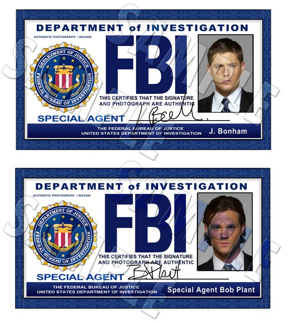 Supernatural FBI ID Cards Dean And Sam Digital Download