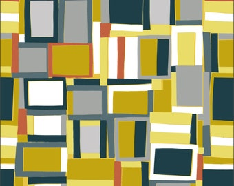 Cotton Fabric - Crazy Squares by Inprint at Makower - per 1/2m - For Dressmaking and Patchwork - Free Shipping - UK Seller