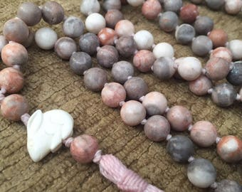 Hoppy Easter mala with pink zebra jasper