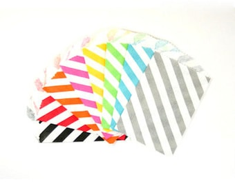 """25 Small Diagonal Stripe Paper Treat Bags or Favor Bags . Choose from 8 Colors . 2.75"""" x 4"""""""