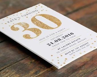 Gold 30th Birthday Invitation A6 (Digital File - Printable PDF)