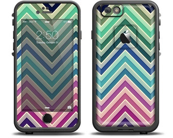The Vibrant Colored Chevron Layered V4 Apple iPhone X - 7 - 8 - LifeProof Case Skin Set (Other Models Available!)