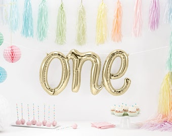 FIRST BIRTHDAY Party One BALLOON. Cake Smash. Pink and Gold. Party Decorations. Foil balloon. Air Helium. Girl. Boy. Wall decor. Gold. One.