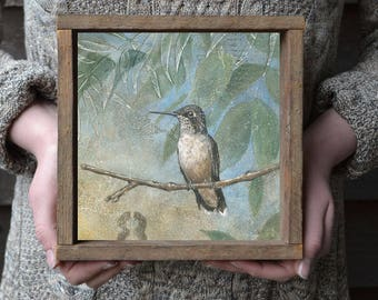 Hummingbird Art Print, Bird Print with Optional Reclaimed Wood Frame, Housewarming Gift Ideas, Hummingbird Art Print, Hummingbird Art Print