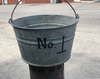 Vintage Galvanized Metal Tub-Bucket Bale Handle--No. 1--Salvaged Farmhouse Barn Style--Rustic Planter--Country Wedding Decor--Fixer Upper