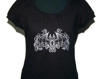 Gothic shirt - bat - size M - black silver grey