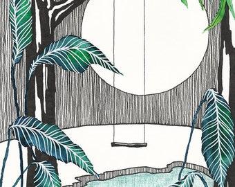 A3 Art Print Illustration, Moonlight Swing, 42x29,7 cm, Watercolor, Pen and Pencils