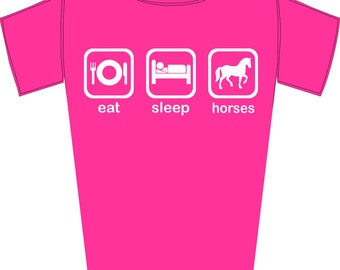 Girl's Eat, Sleep, Horses - Funny Horse Riding Fanatic T-Shirt