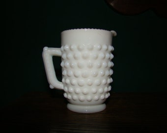 Fenton Miniature Milk Glass Hobnail Creamer Pitcher