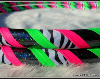 NEW Travel Hula Hoop - 'Zebra Love' - CHOOSE AnY CoLoRs -  Made YOUR Way. Pro Hoops at Great Prices.