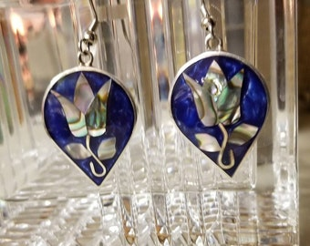 Vintage Alpaca Pierced Earrings Blue with Abalone Inlay