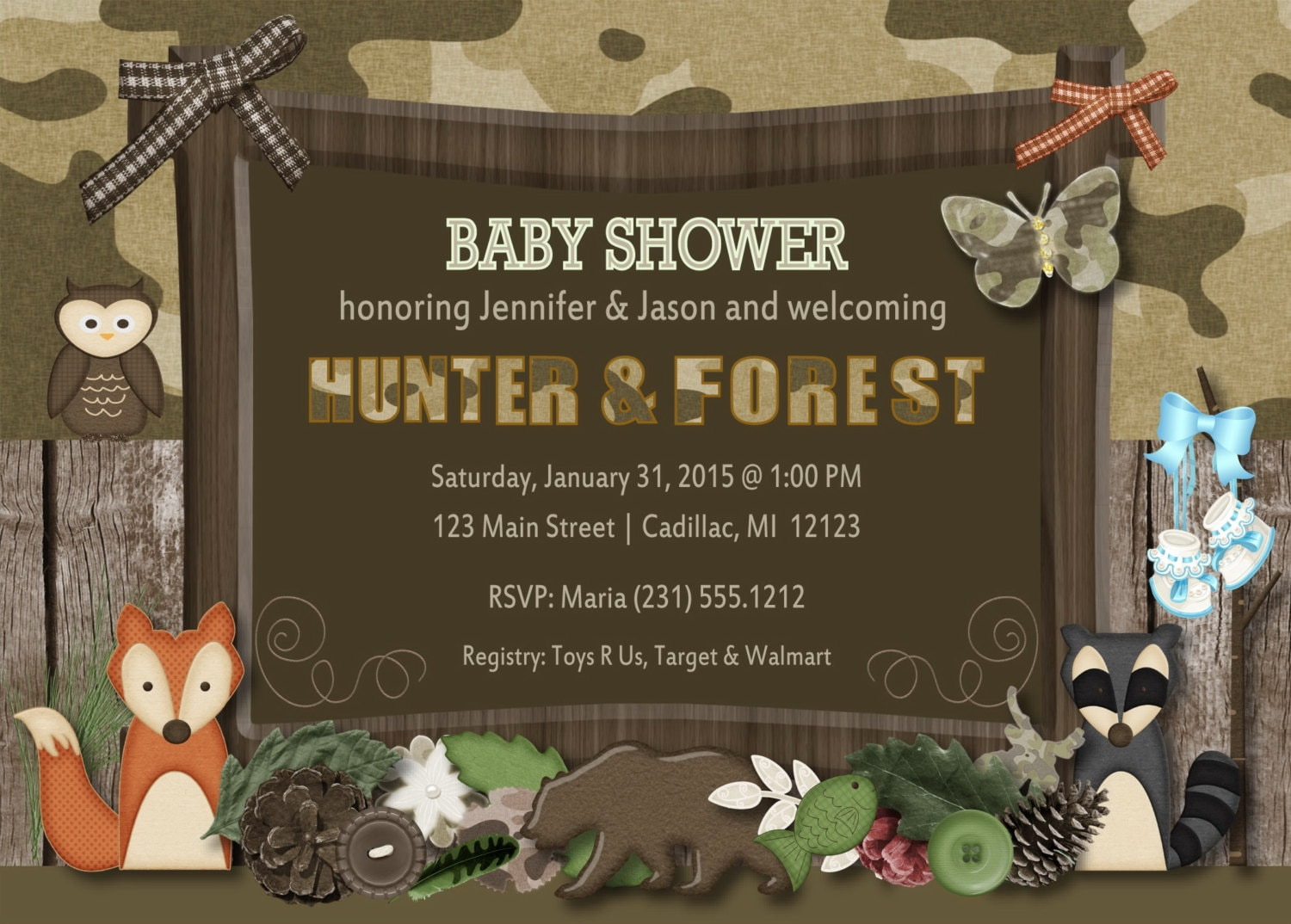 Twins Baby Shower Invitations Woodland Friends Hunting Fall