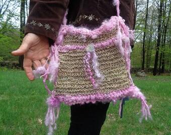 handknit rustic hemp art yarn boho shoulder bag - pink petal land