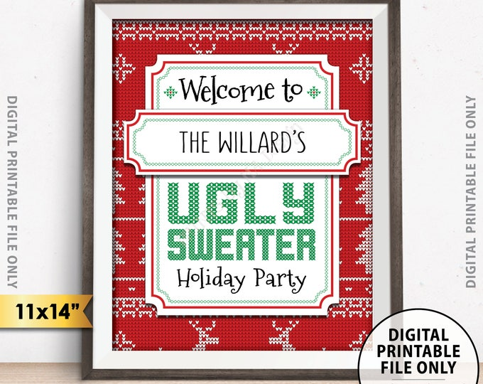 """Holiday Party Sign, Ugly Sweater Holiday Party Welcome Sign, Ugly Christmas Sweater Party Welcome, 11x14"""" PRINTABLE Christmas Party Sign"""