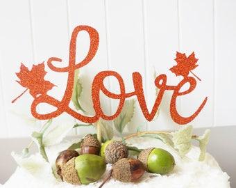 Fall In Love Leaf Cake Topper