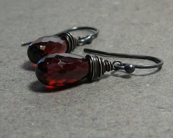 Garnet Briolette Earrings January Birthstone Wire Wrapped Oxidized Sterling Silver Gift for Her