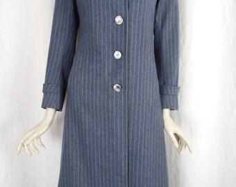 vintage ROGER & GALLET  Paris pin striped wool long coat/ rare and unique: size FR 40- fits USwoman 2-4