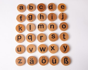 Wooden German lowercase Letter Magnets, montessori alphabet magnets, children wooden toys, waldorf , educational game, kids christmas gift