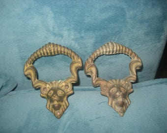 Set of Two Antique Brass Lion Head Handles/Knobs/Drawer Pulls