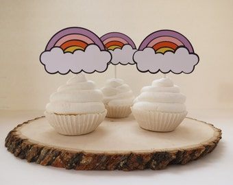 Rainbow Cupcake Toppers - Set of 12 - Pastels