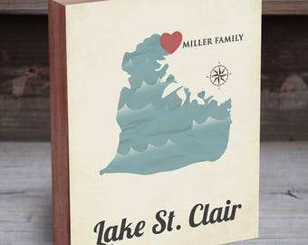 Lake St Clair Map - Lake St. Clair - Lake St Clair Map Art