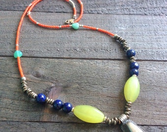 Boho Necklace, Anciant Metals with Semi-precious Stones, Lapis Lazuli, Bohemian Style Jewerly, Beautiful Beaded Necklace, Egyptian
