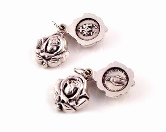 Médaille Miraculeuse coulissant médaille religieuse argent médaillon Rose | Pièces de Rosaire italien