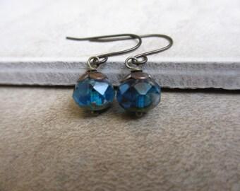 Peacock Blue Earrings, Czech Bead Earrings, Small Blue Earrings, Antiqued Brass, Irisjewelrydesign