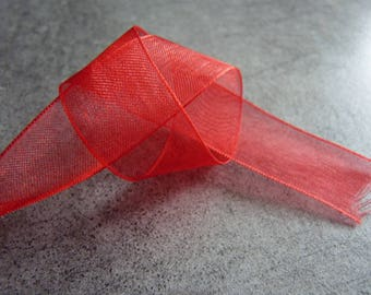 1 m x 2 cm red Organza Ribbon