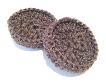 Dark Brown Crocheted Nylon Netting Dish Scrubbies-Pair