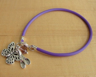 Lupus Purple Awareness Bracelet (Rubber) - with Spoons