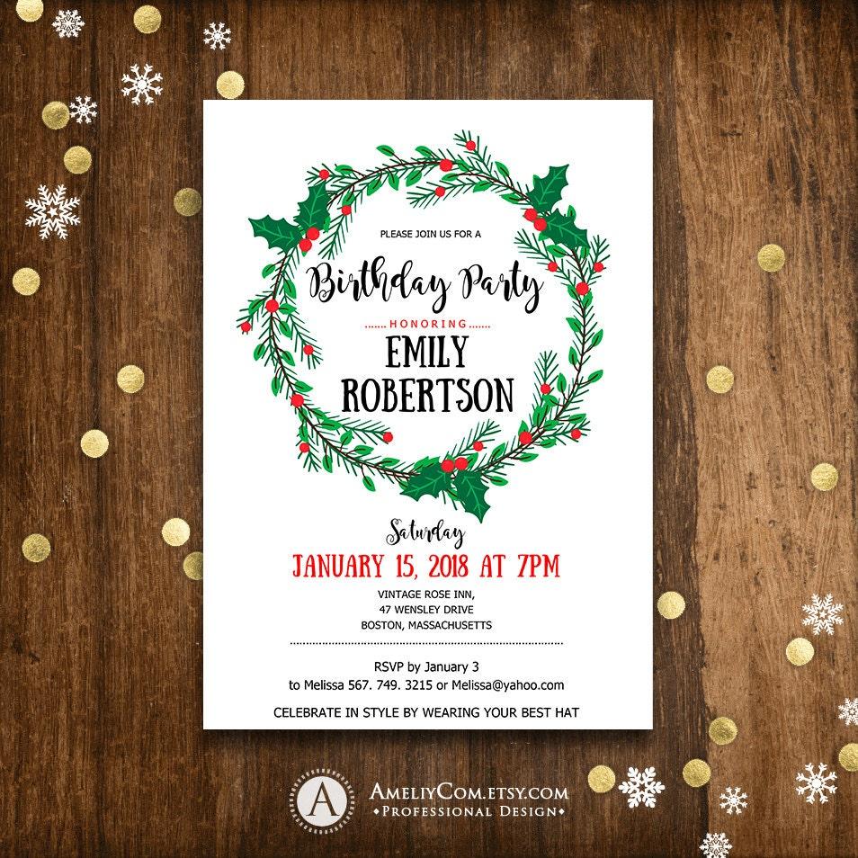 Holiday Wreath Birthday Party Invitation Printable Adult