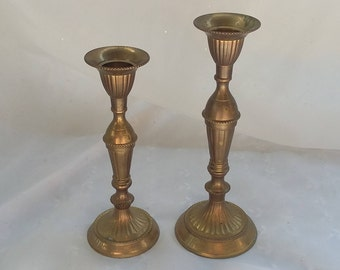 Set of Two Brass Candle Stick Taper Holders